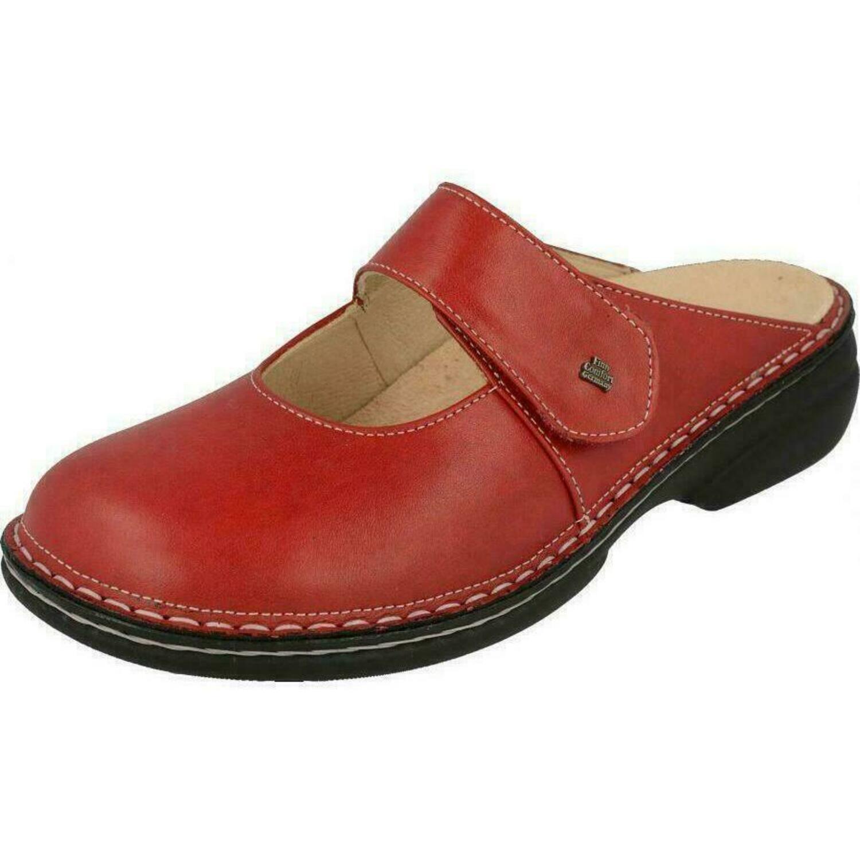 Finn Comfort Stanford- Damenschuhe Pantolette /  Zehentrenner, Rot